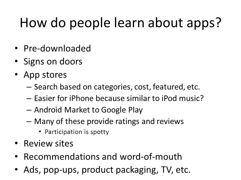 How do people learn about apps.