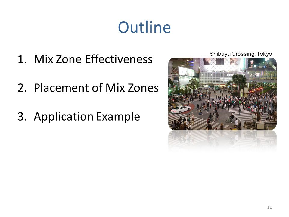 Outline 1.Mix Zone Effectiveness 2.Placement of Mix Zones 3.Application Example 11 Shibuyu Crossing, Tokyo