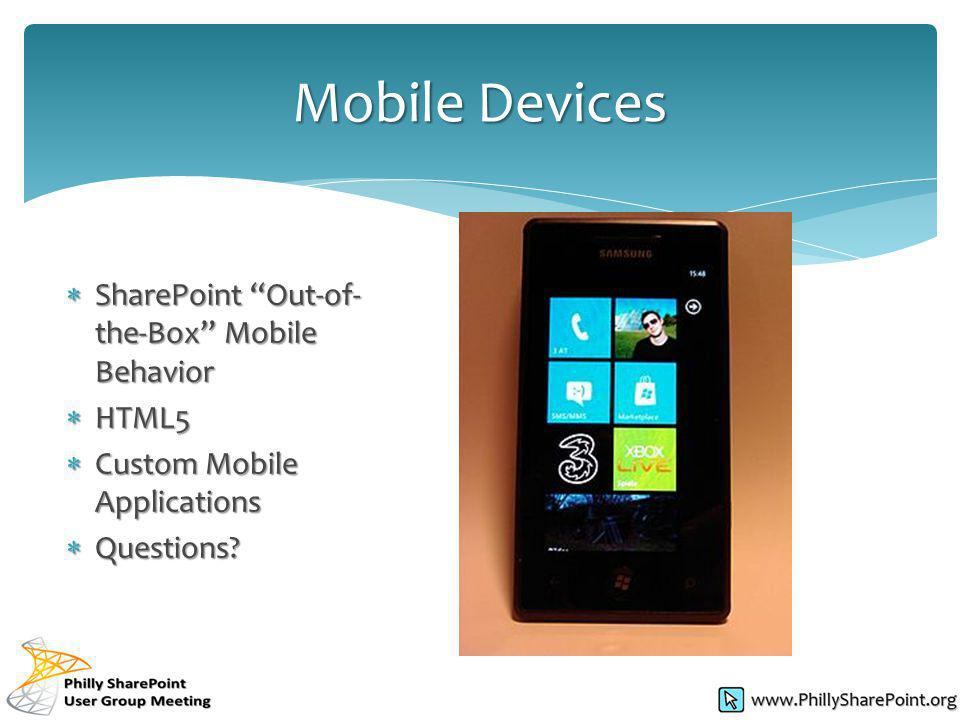 SharePoint Out-of- the-Box Mobile Behavior SharePoint Out-of- the-Box Mobile Behavior HTML5 HTML5 Custom Mobile Applications Custom Mobile Application