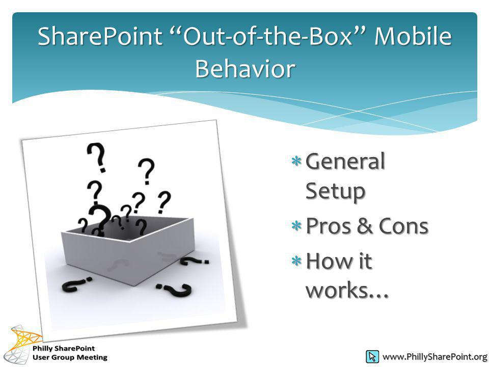 General Setup General Setup Pros & Cons Pros & Cons How it works… How it works… SharePoint Out-of-the-Box Mobile Behavior