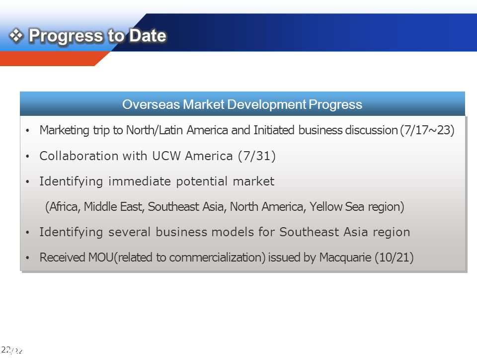 /22 22 Marketing trip to North/Latin America and Initiated business discussion (7/17~23) Collaboration with UCW America (7/31) Identifying immediate potential market (Africa, Middle East, Southeast Asia, North America, Yellow Sea region) Identifying several business models for Southeast Asia region Received MOU(related to commercialization) issued by Macquarie (10/21) Marketing trip to North/Latin America and Initiated business discussion (7/17~23) Collaboration with UCW America (7/31) Identifying immediate potential market (Africa, Middle East, Southeast Asia, North America, Yellow Sea region) Identifying several business models for Southeast Asia region Received MOU(related to commercialization) issued by Macquarie (10/21) Overseas Market Development Progress 14/24