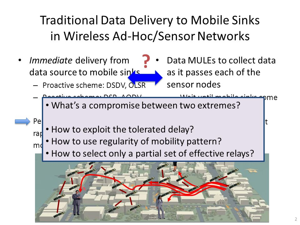 Traditional Data Delivery to Mobile Sinks in Wireless Ad-Hoc/Sensor Networks Immediate delivery from data source to mobile sinks – Proactive scheme: DSDV, OLSR – Reactive scheme: DSR, AODV Performance degrades rapidly with increasing mobility Data MULEs to collect data as it passes each of the sensor nodes – Wait until mobile sinks come to collect Often infeasible if we cannot control the movement 2 .