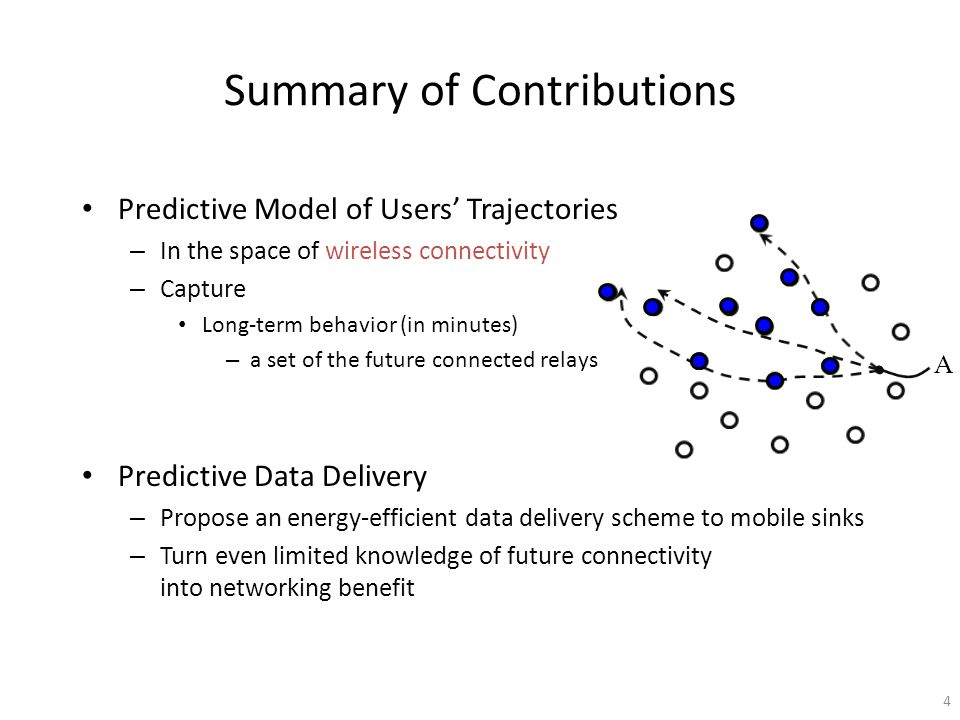 Summary of Contributions Predictive Model of Users Trajectories – In the space of wireless connectivity – Capture Long-term behavior (in minutes) – a set of the future connected relays Predictive Data Delivery – Propose an energy-efficient data delivery scheme to mobile sinks – Turn even limited knowledge of future connectivity into networking benefit A 4