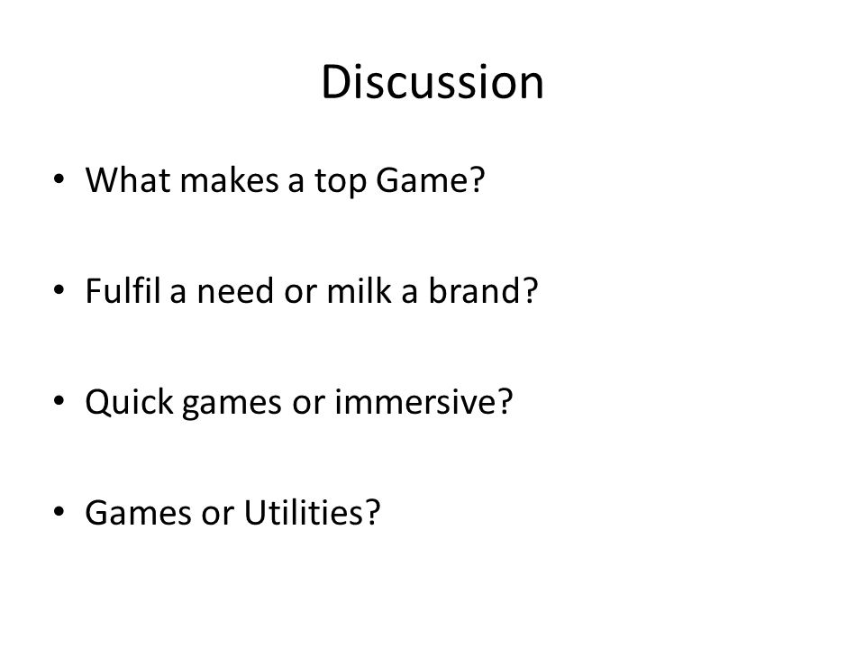 Discussion What makes a top Game.Fulfil a need or milk a brand.