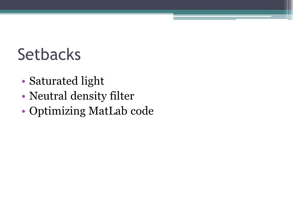 Setbacks Saturated light Neutral density filter Optimizing MatLab code