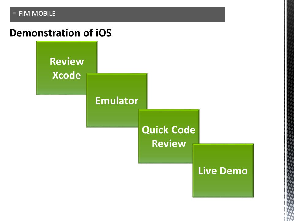 Review Xcode Emulator Quick Code Review Live Demo FIM MOBILE