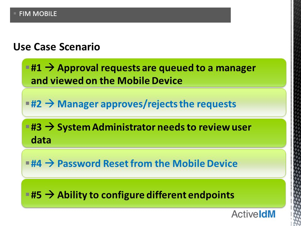 #1 Approval requests are queued to a manager and viewed on the Mobile Device #2 Manager approves/rejects the requests #3 System Administrator needs to