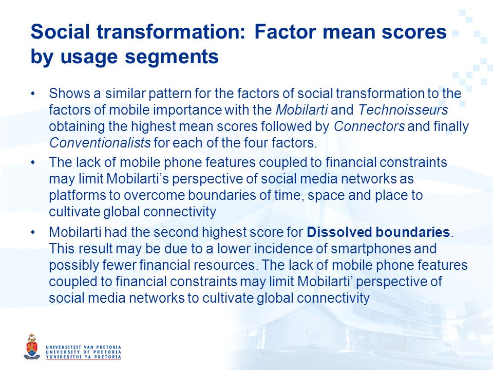 Shows a similar pattern for the factors of social transformation to the factors of mobile importance with the Mobilarti and Technoisseurs obtaining the highest mean scores followed by Connectors and finally Conventionalists for each of the four factors.