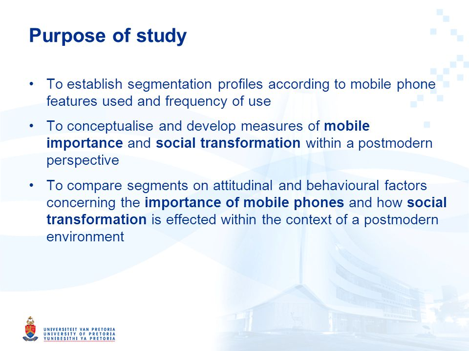 Definitions Mobile importance Mobile importance is viewed as the degree of dependency individuals attach to mobile phones as a behavioural outcome Social transformation Social transformation is a behavioural outcome arising from a postmodern environment, which is enabled by mobile devices and other technological advances in society