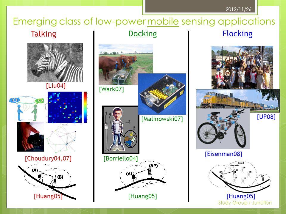 Emerging class of low-power mobile sensing applications 7 Talking DockingFlocking [Liu04] [Choudury04,07] [Wark07] [Malinowski07] [Borriello04] [Huang05] [UP08] [Eisenman08] 2012/11/26 Study Group / Junction