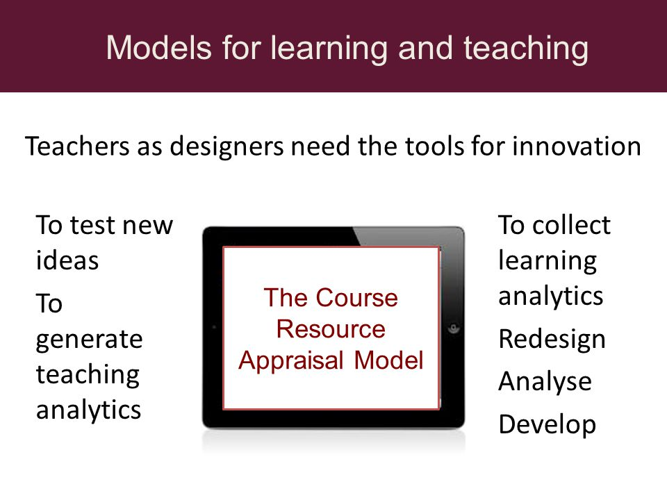 Teachers as designers need the tools for innovation Models for learning and teaching To test new ideas To generate teaching analytics To collect learning analytics Redesign Analyse Develop The Course Resource Appraisal Model