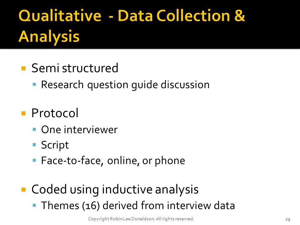 Semi structured Research question guide discussion Protocol One interviewer Script Face-to-face, online, or phone Coded using inductive analysis Themes (16) derived from interview data 29Copyright Robin Lee Donaldson.