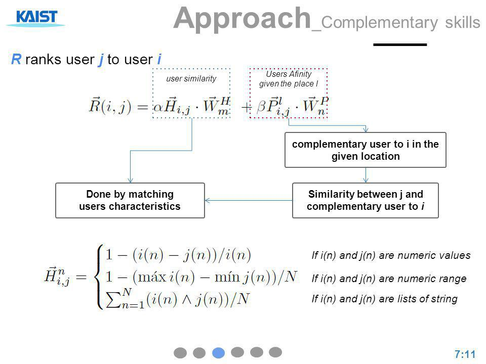 Approach _Complementary skills 7:11 R ranks user j to user i user similarity Users Afinity given the place l Done by matching users characteristics Si