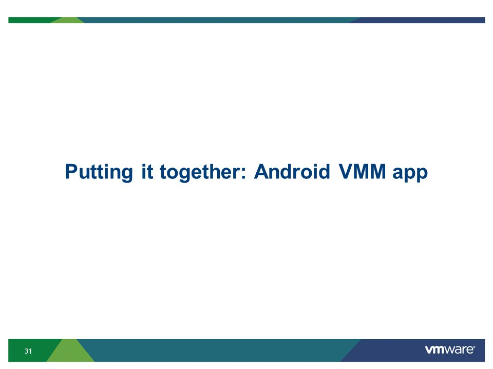 31 Putting it together: Android VMM app