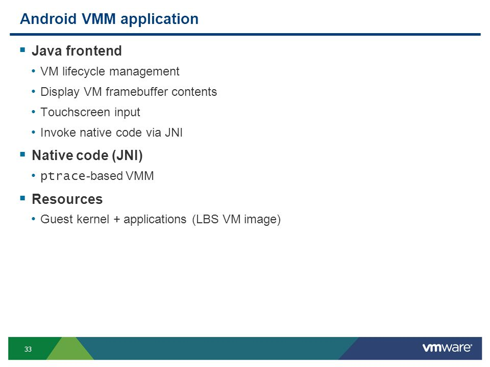 33 Android VMM application Java frontend VM lifecycle management Display VM framebuffer contents Touchscreen input Invoke native code via JNI Native code (JNI) ptrace -based VMM Resources Guest kernel + applications (LBS VM image)