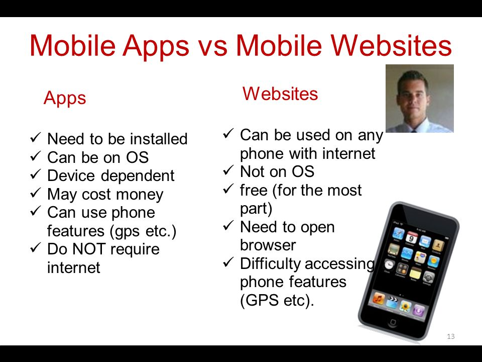 Mobile Apps vs Mobile Websites Apps Need to be installed Can be on OS Device dependent May cost money Can use phone features (gps etc.) Do NOT require internet Websites Can be used on any phone with internet Not on OS free (for the most part) Need to open browser Difficulty accessing phone features (GPS etc).