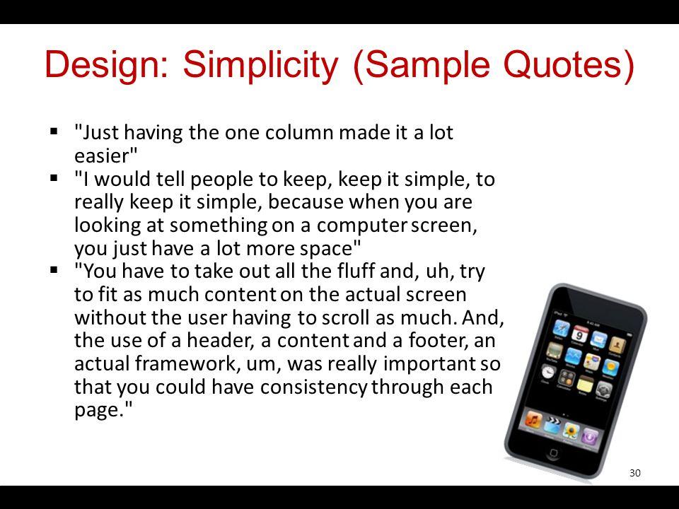 Design: Simplicity (Sample Quotes)