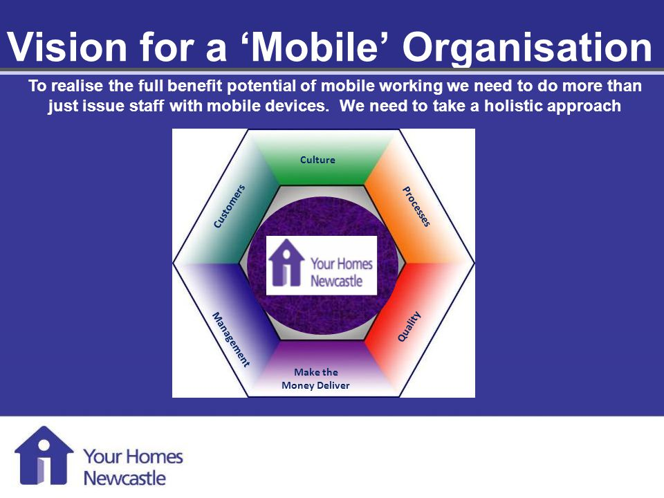 Mobile Working 1 st August 2013 Vision for a Mobile Organisation Customers Culture Processes Management Quality Make the Money Deliver To realise the full benefit potential of mobile working we need to do more than just issue staff with mobile devices.