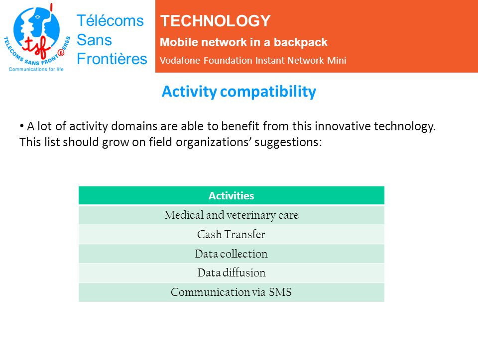 Télécoms Sans Frontières Activity compatibility A lot of activity domains are able to benefit from this innovative technology.