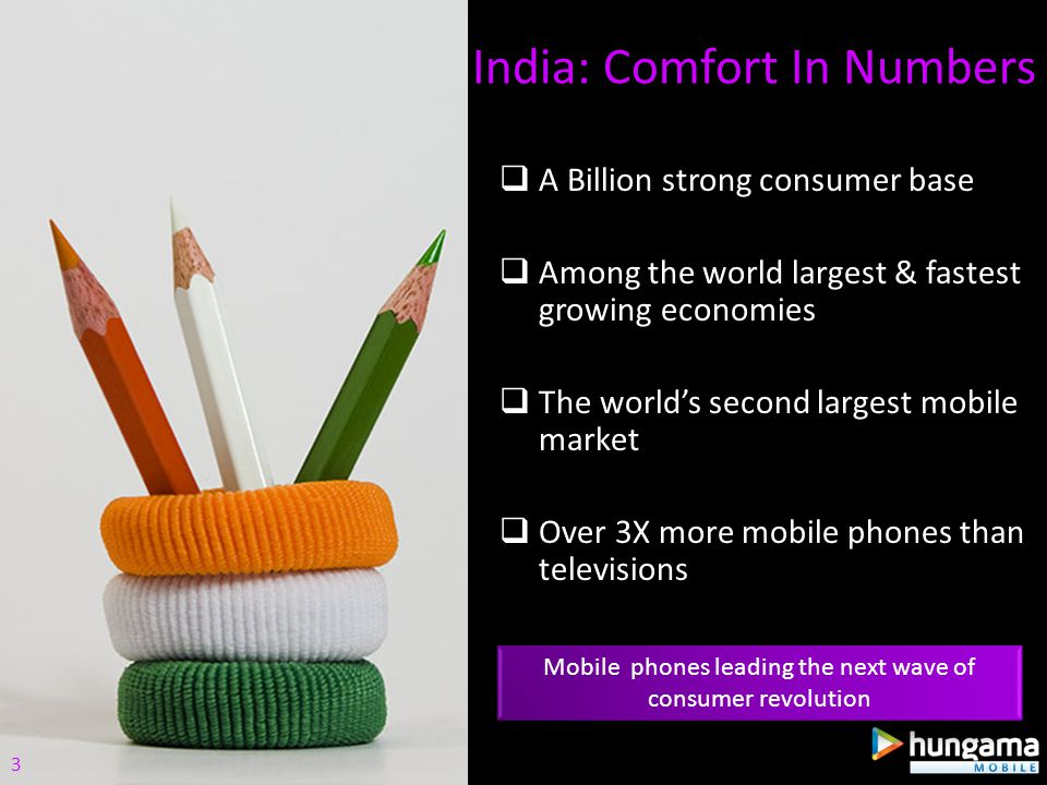 A Billion strong consumer base Among the world largest & fastest growing economies The worlds second largest mobile market Over 3X more mobile phones