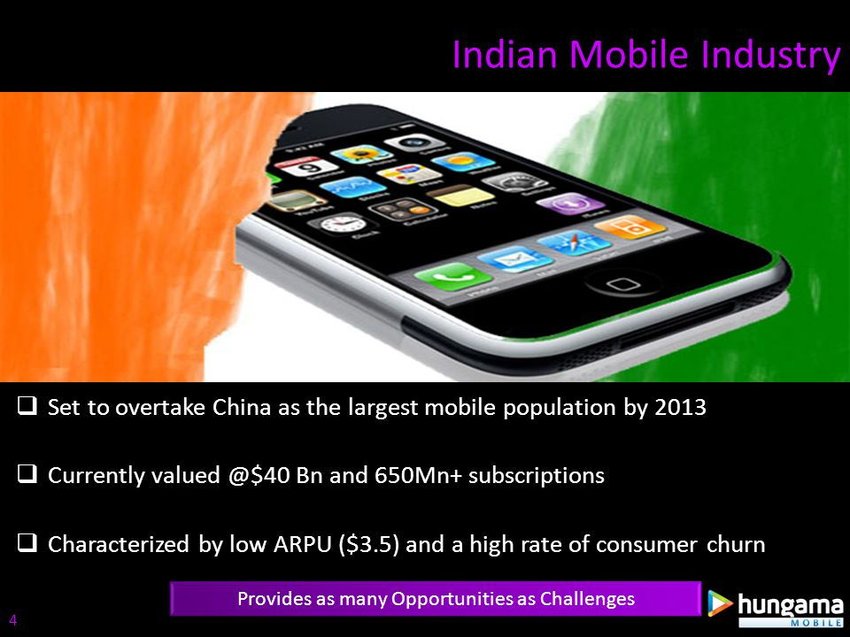 Indian Mobile Industry Provides as many Opportunities as Challenges Set to overtake China as the largest mobile population by 2013 Currently valued @$