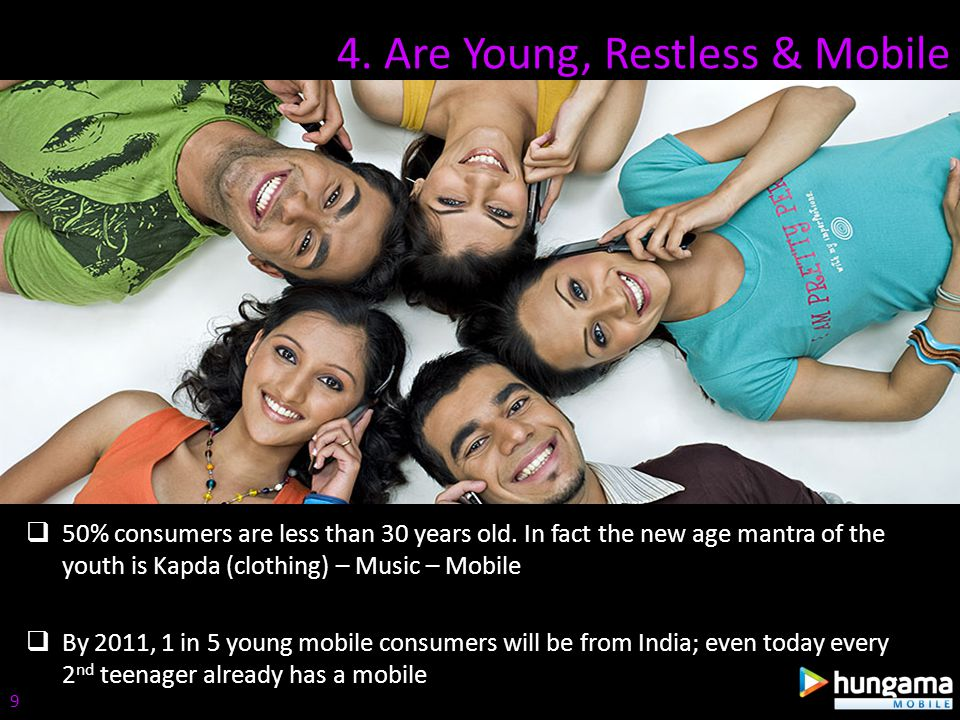4. Are Young, Restless & Mobile 50% consumers are less than 30 years old. In fact the new age mantra of the youth is Kapda (clothing) – Music – Mobile