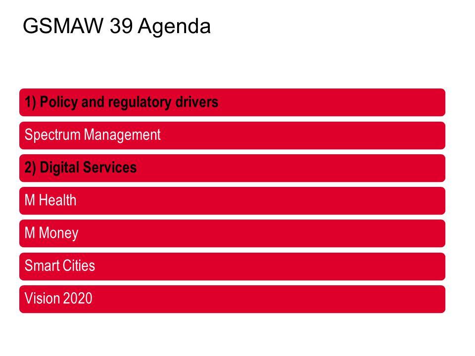 1) Policy and regulatory drivers Spectrum Management 2) Digital Services M HealthM MoneySmart CitiesVision 2020 GSMAW 39 Agenda