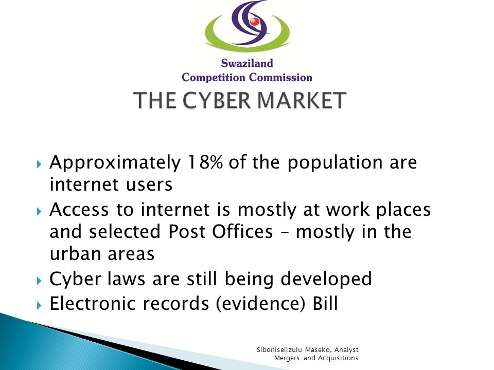Approximately 18% of the population are internet users Access to internet is mostly at work places and selected Post Offices – mostly in the urban are