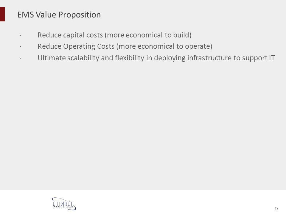 EMS Value Proposition 19 Reduce capital costs (more economical to build) Reduce Operating Costs (more economical to operate) Ultimate scalability and