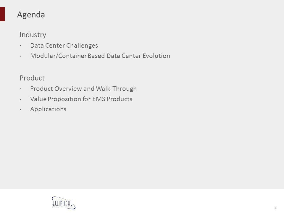Agenda 2 Industry Data Center Challenges Modular/Container Based Data Center Evolution Product Product Overview and Walk-Through Value Proposition for