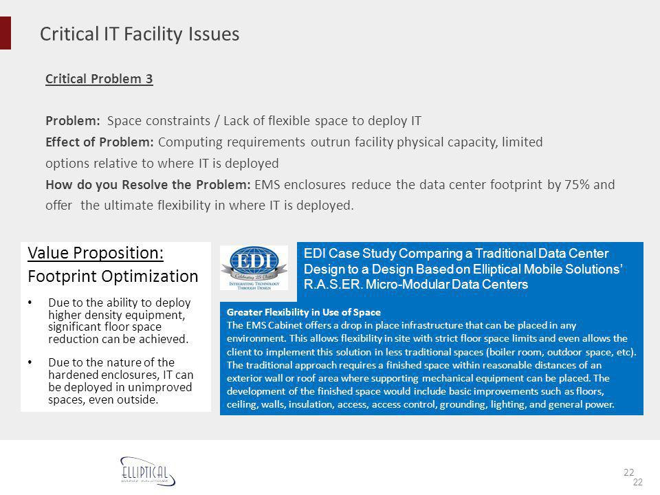 Critical IT Facility Issues 22 Critical Problem 3 Problem: Space constraints / Lack of flexible space to deploy IT Effect of Problem: Computing requir