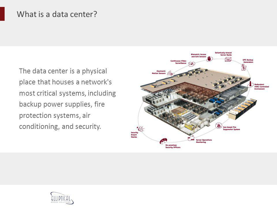 What is a data center? The data center is a physical place that houses a network's most critical systems, including backup power supplies, fire protec