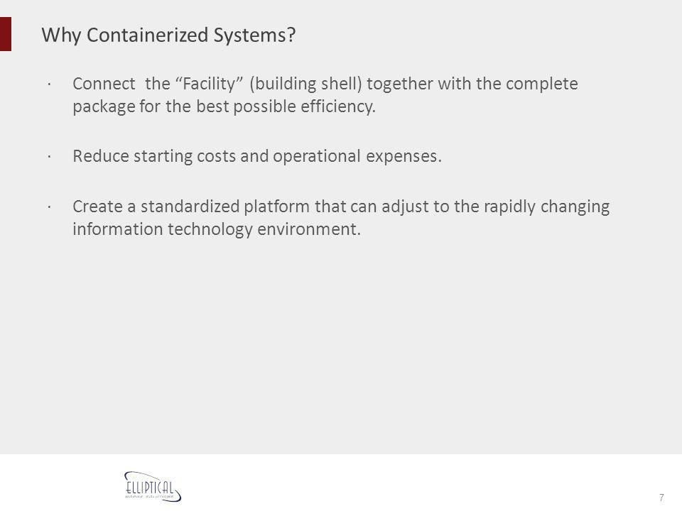 Why Containerized Systems? 7 Connect the Facility (building shell) together with the complete package for the best possible efficiency. Reduce startin