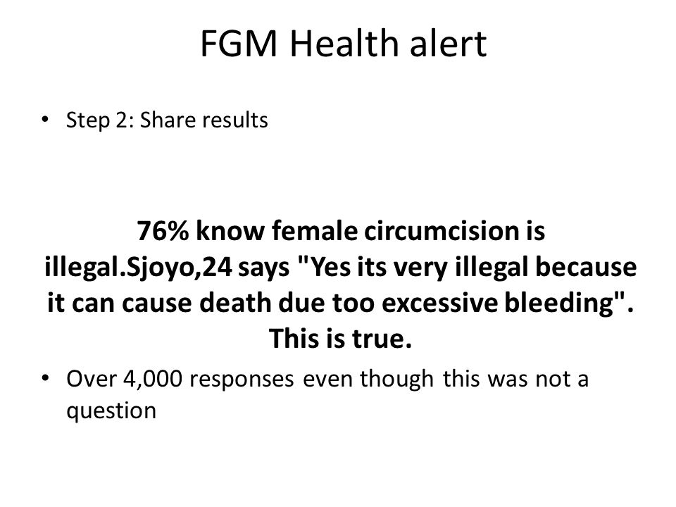 FGM Health alert Step 2: Share results 76% know female circumcision is illegal.Sjoyo,24 says Yes its very illegal because it can cause death due too excessive bleeding .