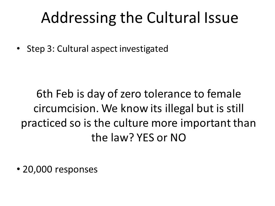 Addressing the Cultural Issue Step 3: Cultural aspect investigated 6th Feb is day of zero tolerance to female circumcision.