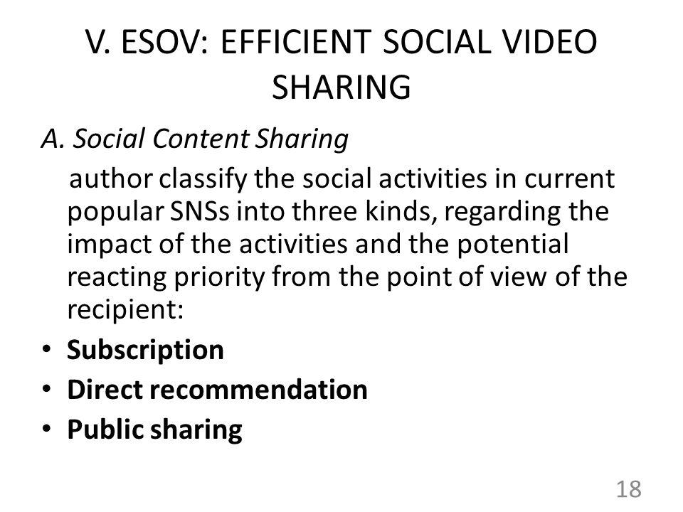 V.ESOV: EFFICIENT SOCIAL VIDEO SHARING A.