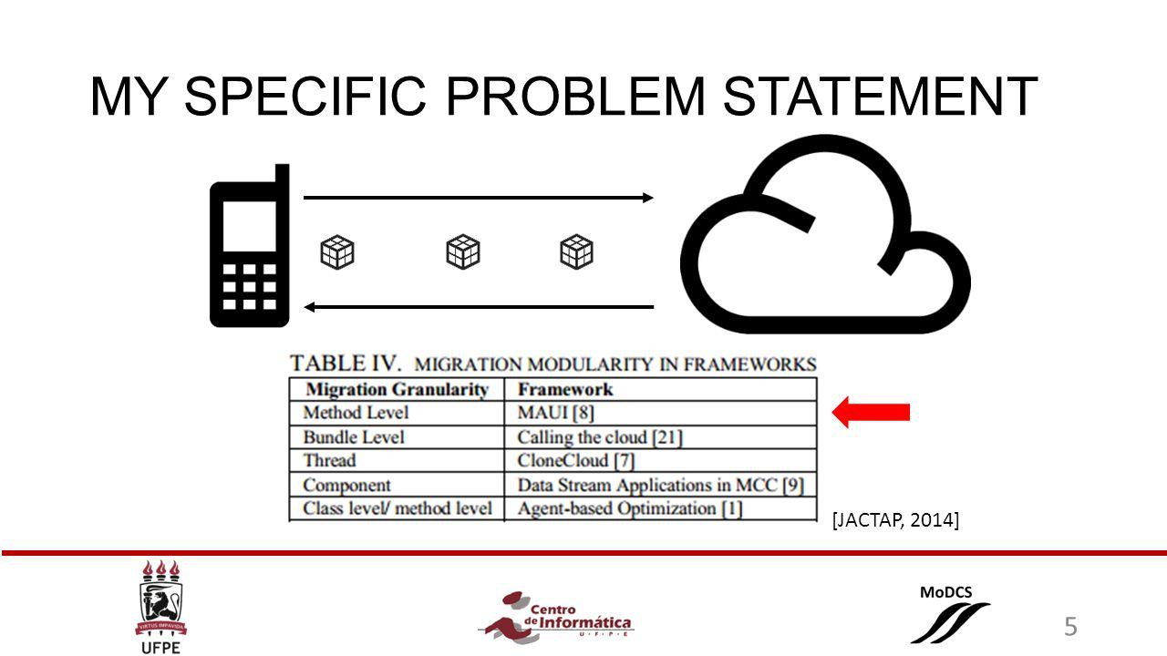 MY SPECIFIC PROBLEM STATEMENT [JACTAP, 2014] 5