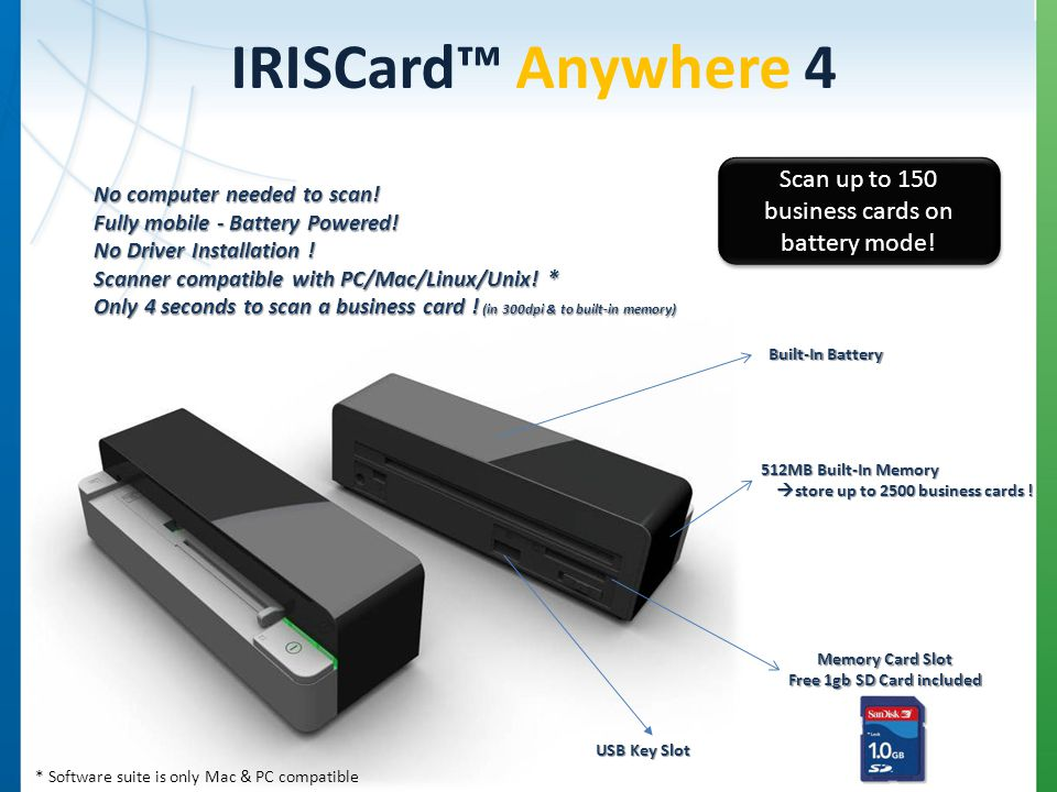 IRISCard Anywhere 4 No computer needed to scan. Fully mobile - Battery Powered.