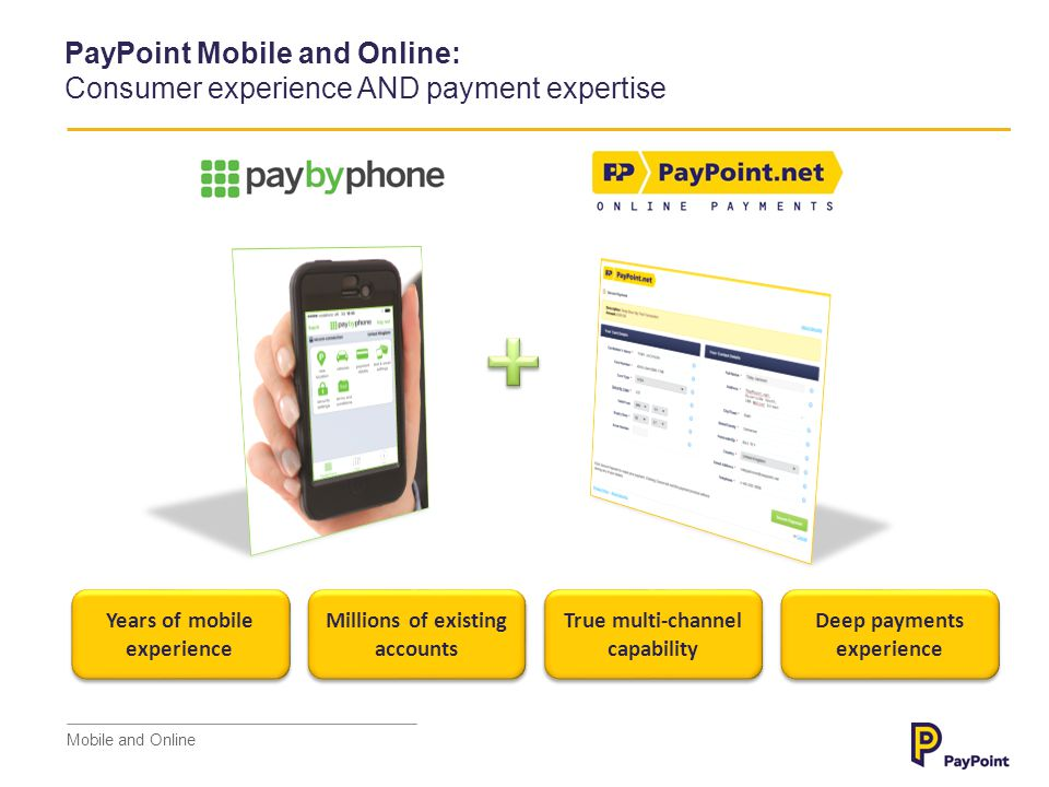 Consumer Activity Payment Processing PayPoint Mobile and Online: Consumer experience AND payment expertise Point of Interaction One, integrated solution FRONT END BACK END Mobile and Online