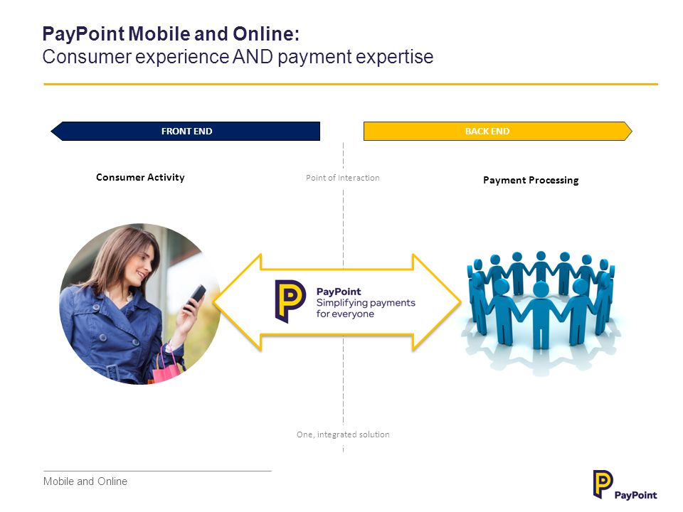 Today we are launching as PayPoint Mobile and Online Mobile and Online