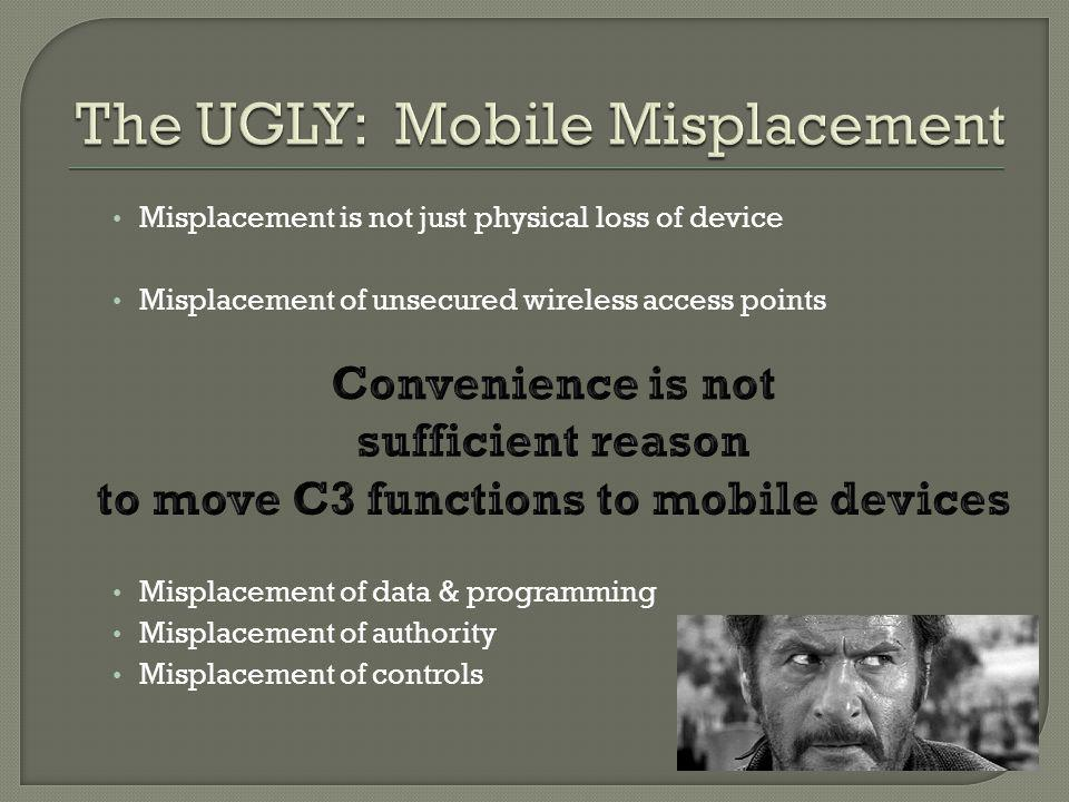 Misplacement is not just physical loss of device Misplacement of unsecured wireless access points Misplacement of data & programming Misplacement of authority Misplacement of controls