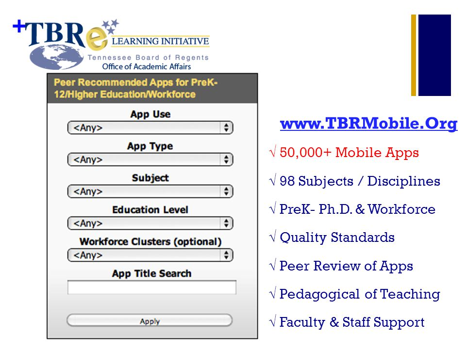 + www.TBRMobile.Org 50,000+ Mobile Apps 98 Subjects / Disciplines PreK- Ph.D. & Workforce Quality Standards Peer Review of Apps Pedagogical of Teachin