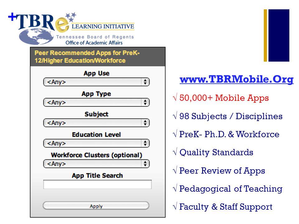 + www.TBRMobile.Org 50,000+ Mobile Apps 98 Subjects / Disciplines PreK- Ph.D.