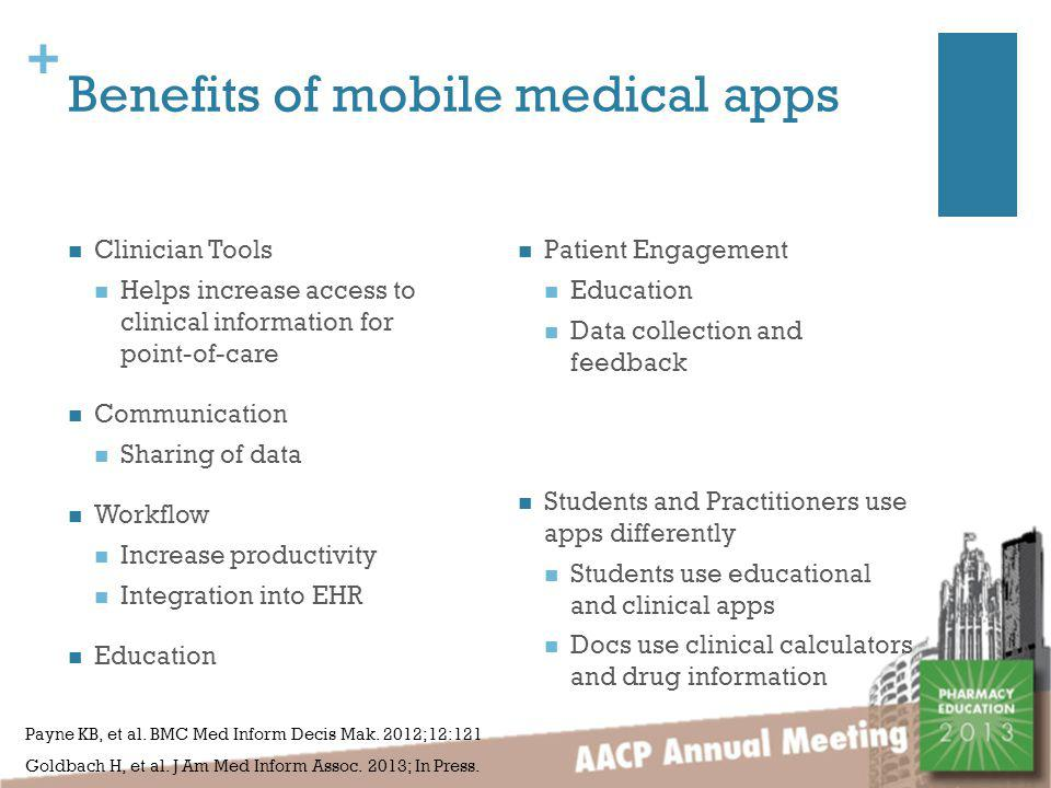 + Benefits of mobile medical apps Clinician Tools Helps increase access to clinical information for point-of-care Communication Sharing of data Workflow Increase productivity Integration into EHR Education Students and Practitioners use apps differently Students use educational and clinical apps Docs use clinical calculators and drug information Payne KB, et al.