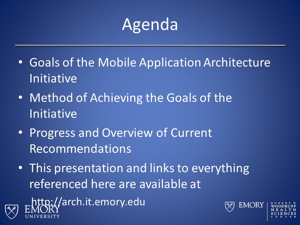 Agenda Goals of the Mobile Application Architecture Initiative Method of Achieving the Goals of the Initiative Progress and Overview of Current Recomm