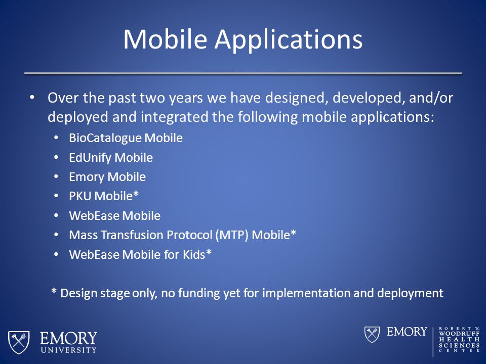 Mobile Applications Over the past two years we have designed, developed, and/or deployed and integrated the following mobile applications: BioCatalogu