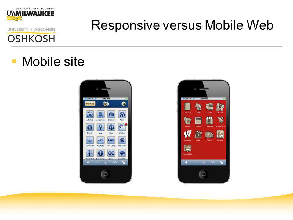 Responsive versus Mobile Web Mobile site