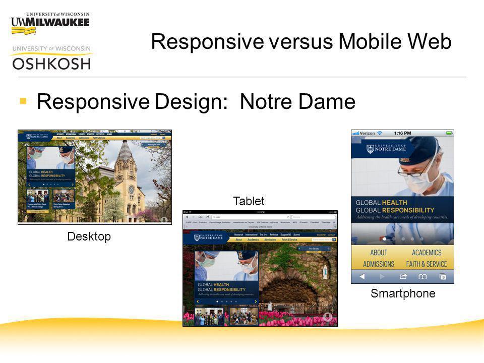 Responsive versus Mobile Web Responsive Design: Notre Dame Desktop Tablet Smartphone