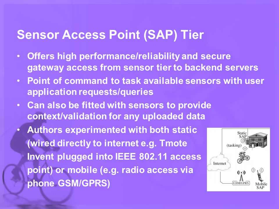 Sensor Access Point (SAP) Tier Offers high performance/reliability and secure gateway access from sensor tier to backend servers Point of command to task available sensors with user application requests/queries Can also be fitted with sensors to provide context/validation for any uploaded data Authors experimented with both static (wired directly to internet e.g.