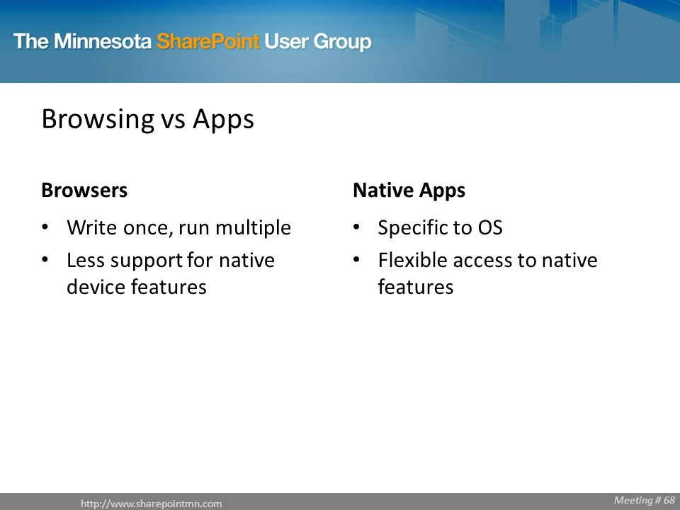 http://www.sharepointmn.com Meeting # 68 Browsing vs Apps Browsers Write once, run multiple Less support for native device features Native Apps Specif